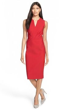 Free shipping and returns on Elie Tahari 'Vernon' Tech Jersey Sheath Dress at Nordstrom.com. Front pleats gather the fixed-surplice bodice of an updated sheath dress tailored from tech-stretch jersey with reverse seam detailing. A below-knee length creates a lean, elegant look.