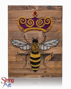String Art Kit - Queen Bee, String Art Bee, DIY Kit, Crafts Kit, Bee Decor, Wall Decor, Crafts Gift, w/ String, Nails, Stained Wood, Pattern