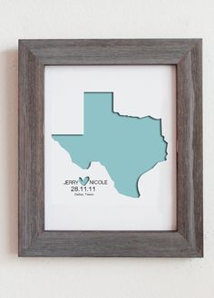 "Dang too bad I got married in a square state - this is awesome. Personalized Paper Cut Out of  Texas Map 8""x10"" for Gift and Wedding Gift. $25.00, via Etsy."