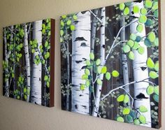 "Colorado Aspen Trees on Canvas - MADE TO ORDER Set of two 20"" x 20"" large acrylic paintings $225"