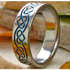 Titanium Celtic heart ring in blue