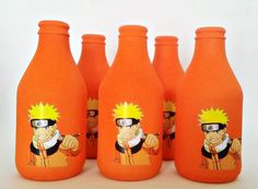 Garrafa Naruto - Festa Naruto | Gi Carvalho - Artesanato com garrafas de vidro | Elo7 Naruto Birthday, Ninja Birthday Parties, 1st Birthday Party Themes, 12th Birthday, Man Birthday, Princess Birthday, Naruto Party Ideas, Bottle Drawing, Custom Bottles