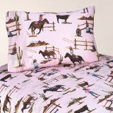 Queen Sheet Set for Western Cowgirl Bedding Collection by Sweet Jojo Designs - Cowgirl Horse Print Kids Sheets, Twin Sheets, Twin Sheet Sets, Cotton Sheet Sets, Queen Sheets, Cotton Sheets, Cotton Fabric, Cowgirls, Cowgirl Bedroom