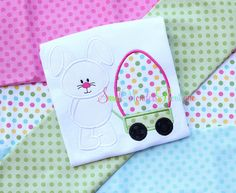 Easter Embroidered Shirt  Easter Bunny Egg Wagon by smallwonders00, $22.00