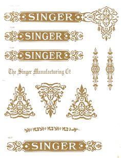 """Decals for Singer 27, 127 """"Celtic"""" Restoration - Waterslide Transfer - Gold Metallic"""
