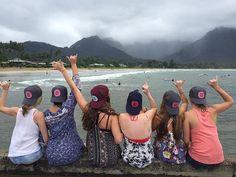 Lucky We Live Hawaii heads. Girl squad at Hanalei Pier : @codisbaru #luckywelivehawaii #adventurewithLWLH