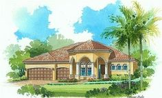 Toscana Elevation 'C' - Lennar Homes Treviso Bay Naples FL Lakewood Ranch, Dream House Plans, New Homes For Sale, Classic House, Estate Homes, Real Estate Marketing, Naples, Building A House, Florida