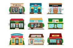 Shop Facade, Facade House, Restaurant Icon, Restaurant Design, City Vector, Eps Vector, Vector File, Vector Icons, Vectors