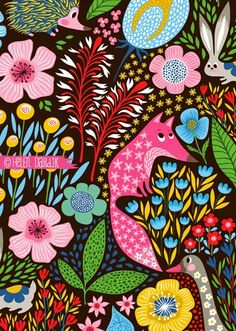 orange you lucky!: hedgehogs & foxes vs geese & rabbits by Helen Dardik Textures Patterns, Fabric Patterns, Print Patterns, Design Patterns, Surface Pattern Design, Pattern Art, Motif Floral, Arte Pop, Art Plastique