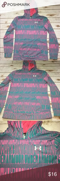Girls Under Amour Hoodie Girls Large / Under Armour Hoodie / pink & blue / good condition / warm! Under Armour Shirts & Tops Sweatshirts & Hoodies