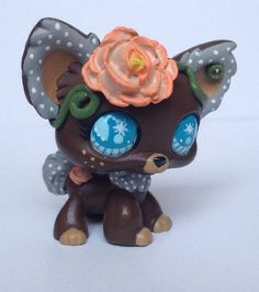 Littlest pet shop Dog * Brown Beauty Pup * LPS Custom Hand Painted OOAK #Hasbro