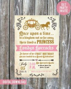 Once upon a time Princess Birthday Party Invite Digital 1st Birthday Princess, Disney Princess Party, Girl Birthday, Fairytale Party, Cinderella Party, Tangled Party, Tinkerbell Party, 4th Birthday Parties, Birthday Ideas