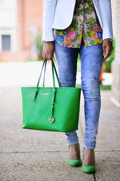 Michael Kors Bag & Acid Wash Jeans