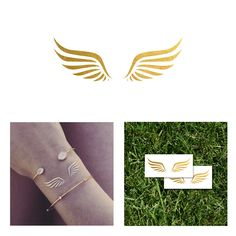 New! 2 PACK Wings Gold Metallic Temporary Tattoo