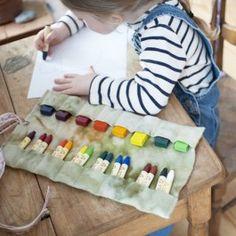 Felt Crayon Roll -  Flowers Crayon Holder
