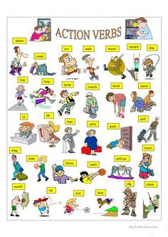 A collection of English ESL Verbs: Action verbs worksheets for home learning, online practice, distance learning and English classes to teach about English Verbs, Learn English Grammar, English Vocabulary Words, Learn English Words, English Study, Learning English For Kids, English Language Learning, Teaching English, Basic English For Kids