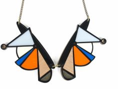 Mixed Media Abstract Collar GEOMETRIC NECKLACE  by nylonsky, €28.00