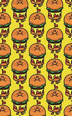 햄버거 패턴 - 디지털 아트 · 일러스트레이션, 디지털 아트, 일러스트레이션, 디지털 아트, 일러스트레이션