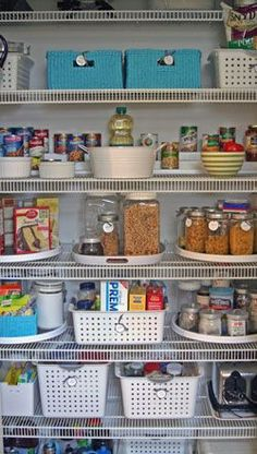 Create an organized pantry with bins that divide and categorize, and elfa to store it all!