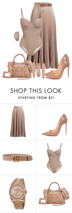 """""""Untitled #1773"""" by styledbyjovonxo ❤ liked on Polyvore featuring A.L.C., Christian Louboutin, Gucci, Rolex and Balenciaga"""