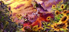 аниме, touhou, yakumo, yukari, kazami, yuuka, закат, цветы, cirno, девушки, зонт, зонтик, подсолнухи