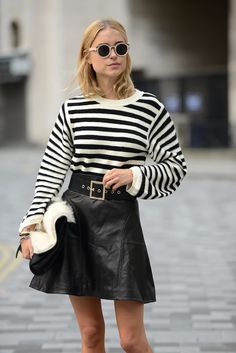 round sunglasses, striped sweater, wide belt & leather skirt #style #fashion #streetstyle