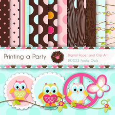 Digital Printable Paper Pack and Clip Art Funny Owls For Personal and Small Commercial Use.    9 Digital clipart (High Resolution of 300dpi),