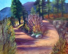 """Colorado Paths    This painting is a plein` air piece that I did while working outdoors near Colorado Springs. The trees and leaves were changing colors and the shadows were deepening becoming purple. This piece is 16"""" x 20 in size and it is painted in acrylics. .         FOR SALE   Original Artwork Details:  16""""H x 20""""W"""