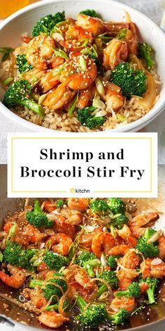 Shrimp & Veggie Stir-Fry Recipe: Easy Shrimp and Broccoli Stir-Fry — Recipes from The KitchnRecipe: Easy Shrimp and Broccoli Stir-Fry — Recipes from The Kitchn Wok Recipes, Vegetarian Recipes, Cooking Recipes, Healthy Recipes, Recipies, Epicure Recipes, Vegetarian Diets, Vegetarian Italian, Cooking Ideas