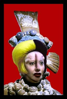 """Orlan - Since 1994, Orlan has been creating a digital photographic series titled """"Self-Hybridizations,"""" where her face merges with past facial representations (masks, sculptures, paintings) of non-western civilizations. So far, three have been completed: Pre-Columbian, American-Indian and African."""