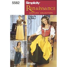 Simplicity sewing pattern for Misses' Renaissance costumes includes blouse, vest, veil, skirt, overskirt, and bumroll.
