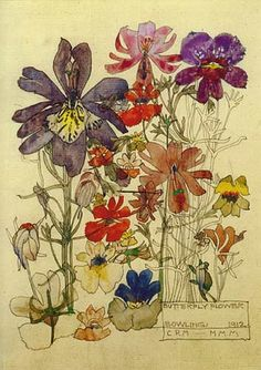 Charles Rennie Mackintosh  'Butterfly Flower Bowling'  1912