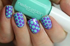 Blue and purple polka dots