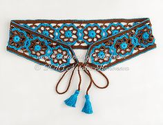 Boho chic festival style Sierra tie belt crochet pattern / tutorial with step-by-step pictures, written instructions and charts.
