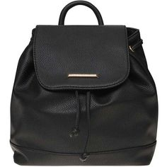 Dorothy Perkins Black Drawstring Backpack ($39) ❤ liked on Polyvore featuring bags, backpacks, black, polyurethane bags, fold-over crossbody bags, drawstring backpack, foldover bags and drawstring backpack bags