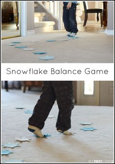 Easy snowflake gross motor balance activity for kids from And Next Comes L