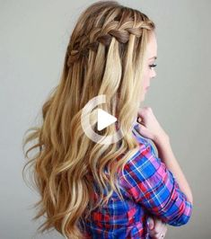 A waterfall braid is a style that allows you to weave a circle, horizontal or diagonal plait throughout loose hair with strands flowing through it like streams in a real waterfall. You can wear this just as easily during an everyday activity, like an office meeting, as you would to a formal event. Long or … #weddinghairstyles Waterfall Braid With Curls, Waterfall Braid Tutorial, Braids With Curls, Braids For Short Hair, Wedding Hairstyles For Medium Hair, Open Hairstyles, Braid Hairstyles, Braid Styles, Short Hair Styles
