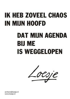 I have so much chaos in my head, my journal ran away from me - Loesje Ik heb zoveel chaos in mijn hoofd dat mijn agenda bij me is weggelopen - Loesje Favorite Quotes, Best Quotes, Funny Quotes, The Words, Words Quotes, Sayings, Well Said Quotes, Dutch Quotes, Happy Words
