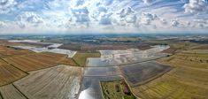 Italian Rice - aerial view of rice cultivation farmed flood fields in northern italy