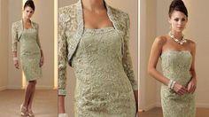 2015 Strapless Sheath Zipper Knee-Length Mother Of The Bride Dress Short Formal Evening Gown&LaceJacket, $125.66 | DHgate.com