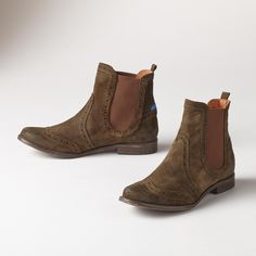 """COBBLER'S BOOTS--Classic, rugged construction gets a modern color update and styling in these hand-constructed suede or leather boots with snug, wool lining. Suede in sand and olive, leather in cognac and military. Rubber sole. Imported. Euro whole sizes 36 to 41. 36 (US 6.25), 37 (US 7), 38 (US 7.75), 39 (US 8.5), 40 (US 9.25), 41 (US 10). 3/4"""" heel."""