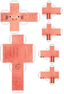 Make your own Minecraft Pig papercraft template cut out