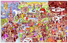 Saurez-vous retrouver les 127 références à l'année 2016 dans cette fresque de Niv Bavarsky ?
