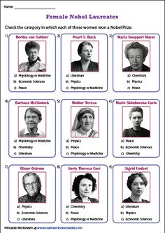 Grab these famous women in history worksheets featuring passages, flashcards to identify the famous female leaders, suffragists, rulers, pioneers and more. Social Studies Worksheets, Nobel Prize, Women In History, Famous Women, Physiology, Esl, Chemistry, Physics, Street Art