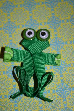 Frog/Toad Ribbon Sculpture Hair Clip by MandaLynnCreations on Etsy, $4.00
