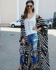 16 Bold Deepika Padukone Looks That Will Inspire You to Take a Fashion Risk or Two Look Kimono, Style Kimono, Kimono Outfit, Casual Outfits, Cute Outfits, Fashion Outfits, Womens Fashion, Abaya Fashion, Kimono Fashion