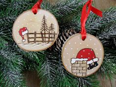 Well it looks like Santa got stuck in the chimney after leaving his hat on a fence post! These two birch tree slices were wood burned free hand and also painted by me. These ornaments will be so cute on your tree or hang them anywhere. They could also be used as a gift tags. Entirely free hand work and finished with a coating of satin varnish and a red ribbon hanger. Approximately 2 1/2 diameter and 1/4 thick. See the last picture for other styles that are listed in my shop or will ...