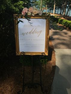 16 x 20 Gold Frame - Great for Welcome Sign and/or any other message- Use as a Seating Chart - Print out not included. Easel not included