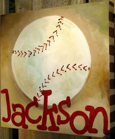 for t's room when we move.baseball painting on canvas Baseball Crafts, Baseball Art, Baseball Stuff, Baseball Canvas, Baseball Boyfriend, Baseball Videos, Baseball Signs, Boyfriend Ideas, Baseball Players