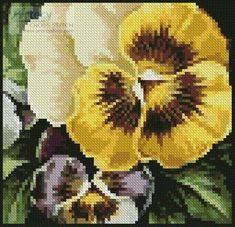 Mini Pansies 2 - Flowers cross stitch pattern designed by Tereena Clarke. Category: Mini.